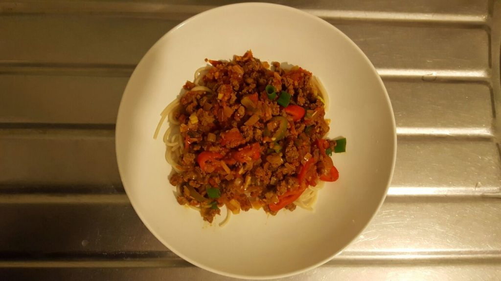 Gluten-Free Quorn Bolognese is served!